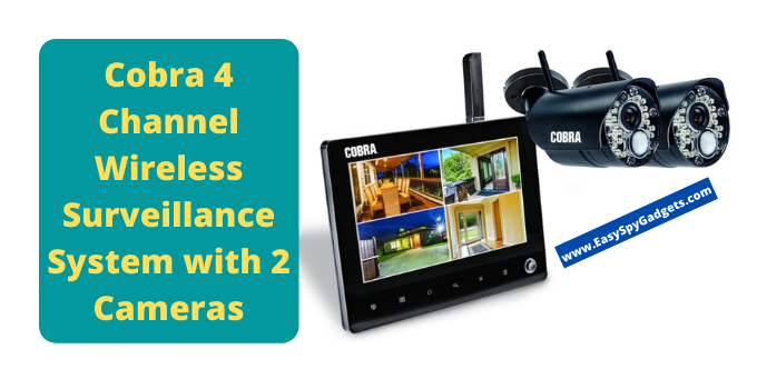 cobra 4 channel wireless surveillance system with 2 cameras